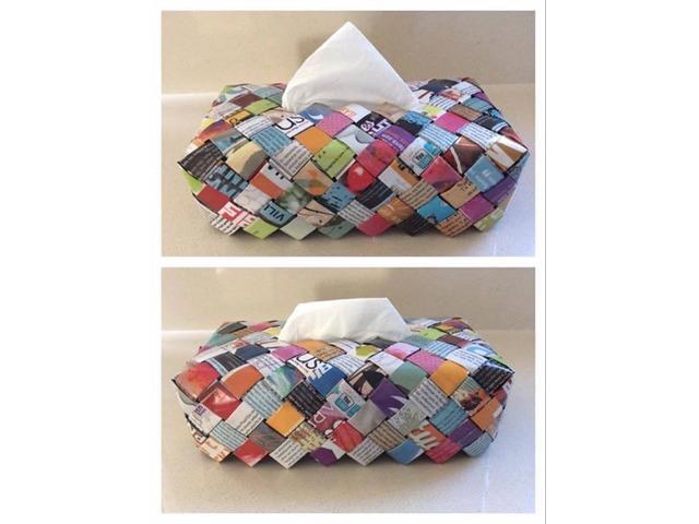 Handmade Tissue Box Cover - Multicolored Newspaper - 1/1