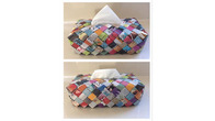 Handmade Tissue Box Cover - Multicolored Newspaper