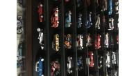 Cars and morobikes collection in showcase
