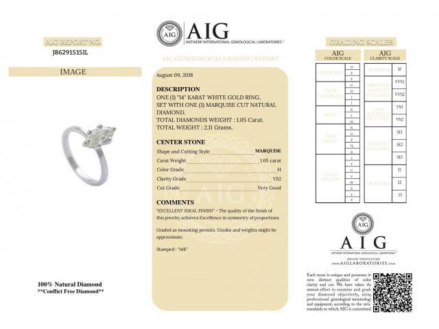 14ct Diamond Ring 1.05ct H/VS2 - 13/16