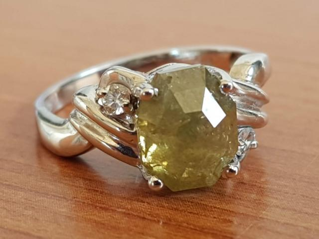 Ultra rare large natural fancy green diamond ring 2.77 carat - 1/11