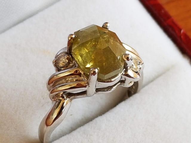 Ultra rare large natural fancy green diamond ring 2.77 carat - 2/11