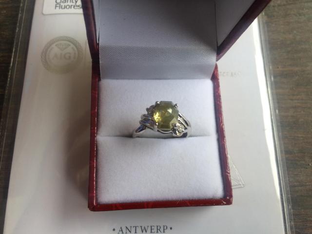 Ultra rare large natural fancy green diamond ring 2.77 carat - 6/11