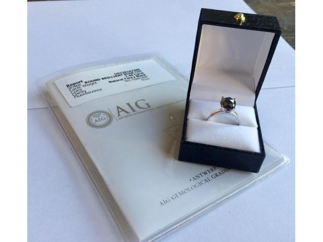 2.46 carat natural black diamond ring with full certificate - 2/10