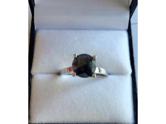 2.46 carat natural black diamond ring with full certificate - 4/10