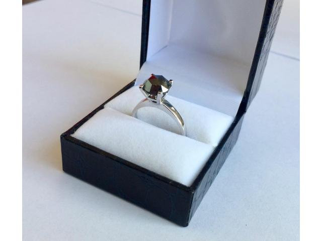 2.46 carat natural black diamond ring with full certificate - 6/10