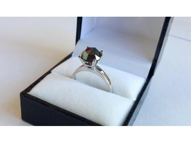 2.46 carat natural black diamond ring with full certificate - 7/10