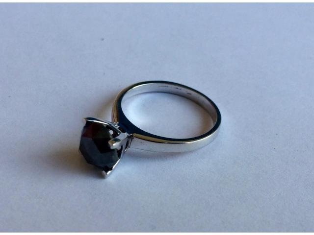 2.46 carat natural black diamond ring with full certificate - 8/10