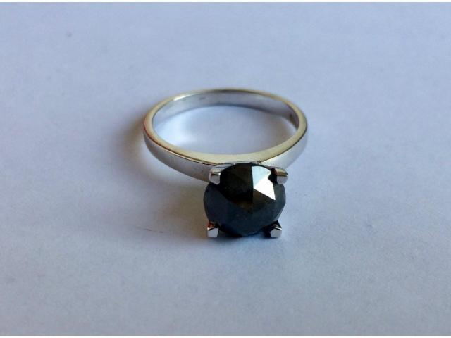 2.46 carat natural black diamond ring with full certificate - 9/10