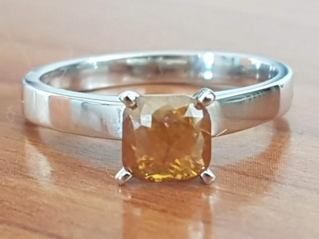 0.90 carat natural fancy deep orange diamond with full certificate - 1/9