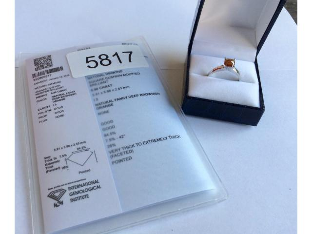 0.90 carat natural fancy deep orange diamond with full certificate - 3/9