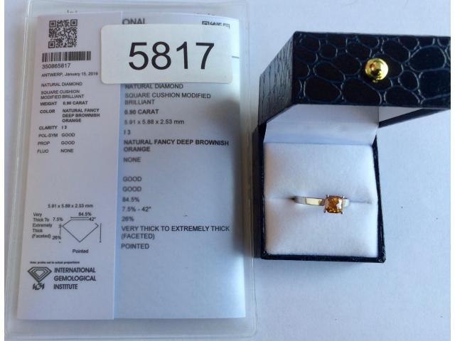 0.90 carat natural fancy deep orange diamond with full certificate - 4/9